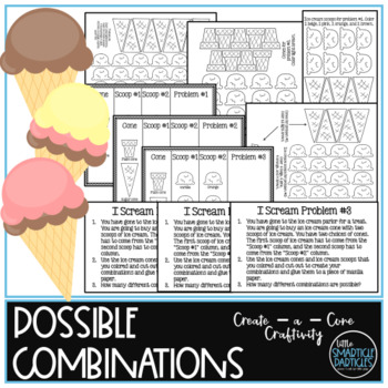i scream, you scream, we all scream, math combinations craftivity