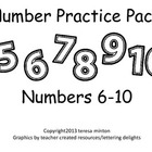 preschool and kindergarten number practice pack  6-10
