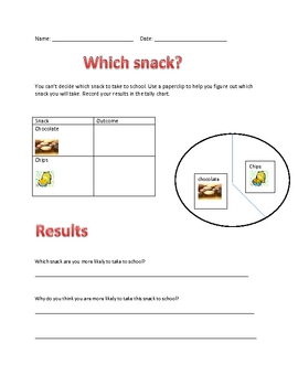 probability - snack math worksheet