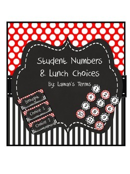 red, black, white, polka dot, stripe lunch choices /studen