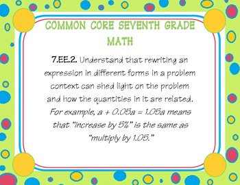 seventh grade common core math posters