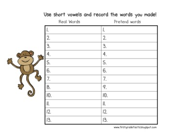 short vowel-make a word