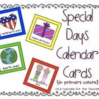 special days calendar cards {in primary colors}