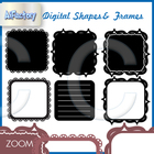 square shapes frames , fills borders clipart set
