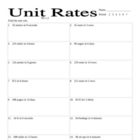 unit rates worksheet