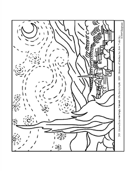 van Gogh. The Starry Night.  Coloring page and lesson plan ideas