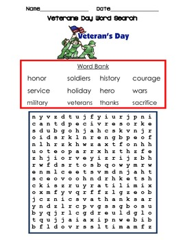veterans day nov 11th word search! celebrate those who fou