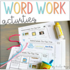 word work tic tac toe- Work on Words