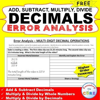 ~FREE~ DECIMALS Word Problems -  Error Analysis  (Find the Error)