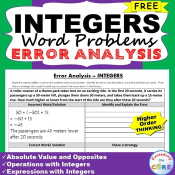 ~FREE~ INTEGERS Word Problems -  Error Analysis  (Find the Error)