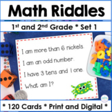 First Grade and Second Grade Math~100 Riddle Cards for the