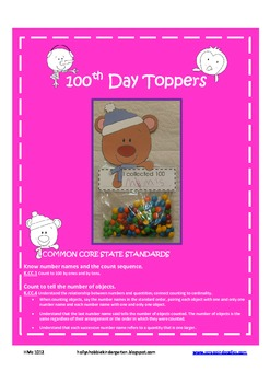 100th Day Collection (cute toppers to attach to baggies)