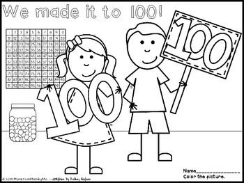 100th Day Coloring Sheet-FREEBIE