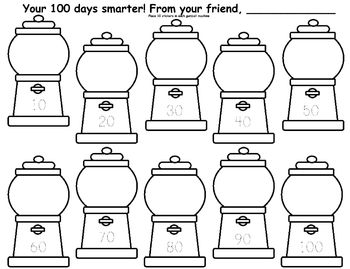 100th Day Gum Ball Sticker Fun....From Students or from Teacher