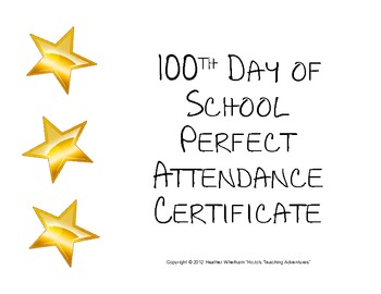 100th Day of School Perfect Attendance Certificate