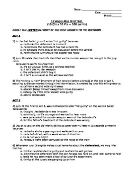 12 Angry Men Brief Multiple Choice Test (Reasonable Doubt;