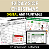 12 Days of Christmas Math Center Activities Pack - 5th Grade