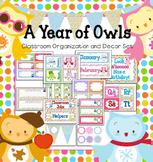 Seasonal Owls & Polka Dots Editable Classroom Organization