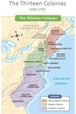 13 Colonies Map Text Reading