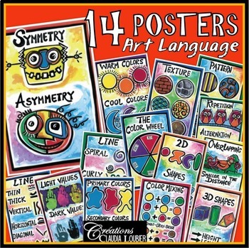 14 Posters of the language of art. Printables. For visual art.
