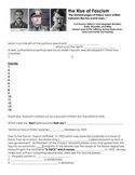 1930s Rise of Fascism Worksheet with Answer Key (Hitler, M