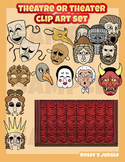 Theatre or theater clip art A-curtains, actors, props and masks