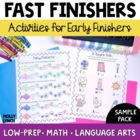 BAT Book Sampler - Common Core Activities for Early Finish
