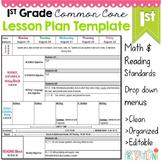 1st Grade Common Core Lesson Plan Template