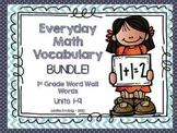 1st Grade Everyday Math Word Wall Words Vocabulary BUNDLE