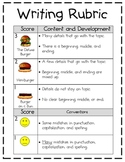 1st Grade Hamburger Writing Rubric