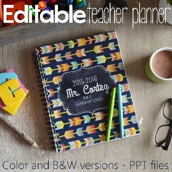 2015/2016 EDITABLE TEACHER BINDER Color and B&W versions 2015-2016 Planner