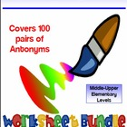 200 PG Antonyms Vocabulary Worksheet Bundle