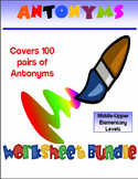 200 PG Antonyms Vocabulary Worksheet Bundle
