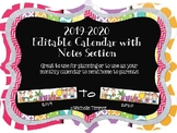 2015-2016 Editable Calendar with Notes Section