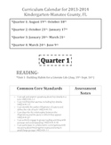 2013-2014 Kindergarten Curriculum Calendar