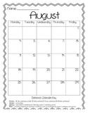 2014-2015 Behavior Calendar