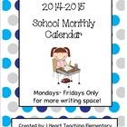 2014-2015 School Monthly Calendar