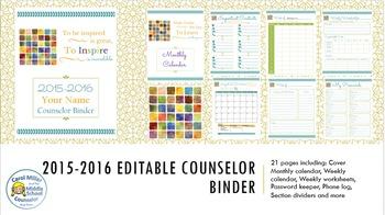 2015-2016 Editable Counselor Binder