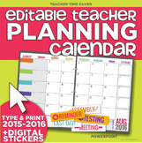 2015-2016 Editable Teacher Planning Calendar Template