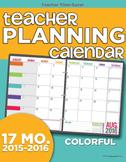 2015-2016 Teacher Planning Calendar Template {Colorful}