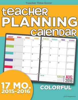 2015-2016 Teacher Planning Calendar Template {Colorful}