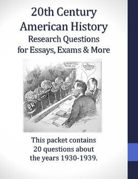 20th Century American History - 1930-1939 - 20 Research Questions
