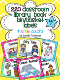 220 Classroom Library Book Bin / Basket Labels {Bright Col