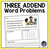 Addition Word Problems with 3 Addends: Includes Bonus/Enri
