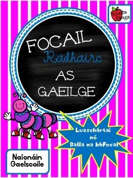 36 Focail Radhairc as Gaeilge - Naíonáin - Gaelscoil - Bal