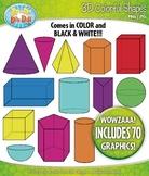 3D Colorful Shapes / Geometric Solids Clip Art — Includes