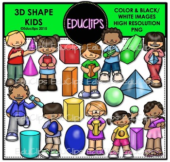 3D Shape Kids Clip Art Bundle