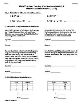 (3.OA.8 & 3.OA.9) 2-Step Word Problems- 3rd Grade Math Wor