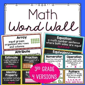 3rd Grade Common Core Standards Math Vocabulary