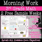 3rd Grade Daily Math Morning Work one week freebie (week 20)